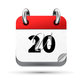 Bright realistic icon of calendar with 20th date on white