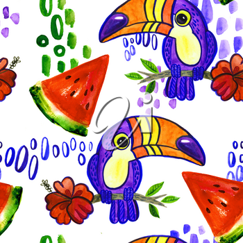Toucan and Hibiscus. Tropical Green seamless pattern.  ornament toucan in cartoon style. American bill, ramphastida, toucan.