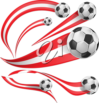 austria flag  set with soccer ball isolated on white background