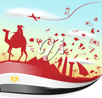 egypt background with flag and symbol