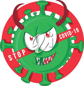 stop evil coronavirus character cartoon over  Signal not allowed