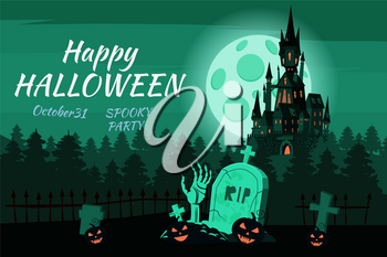 Happy Halloween pumpkin in the cemetery, black abandoned castle, gloomy autumn forest, panorama, full moon dark night, crosses and tombstones, hand from the grave, bats.
