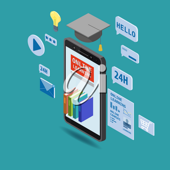 Online education isometric icons composition with book smartphone electronic library