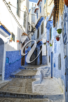 Street in a blue city of Chefchaouen Morocco