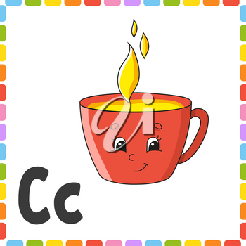 English alphabet. Letter C - cup. ABC square flash cards. Cartoon character isolated on white background. For kids education. Developing worksheet. Learning letters. Color vector illustration.