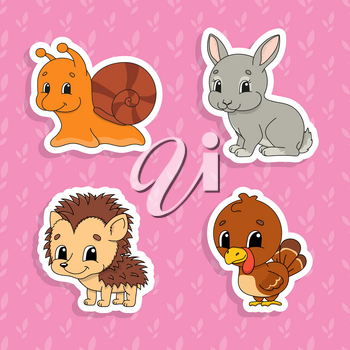 Set of bright color stickers for kids. Cute cartoon characters. Vector illustration isolated on color background.