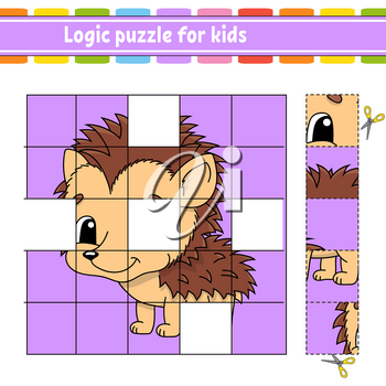 Logic puzzle for kids. Education developing worksheet. Hedgehog animal. Learning game for children. Activity page. Simple flat isolated vector illustration in cute cartoon style.
